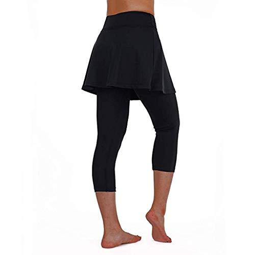 Damen Elastisch Lose Hosenrock Hohe Taille Einfarbig Pants Yogogo Sommer Yoga Leggings Tennishose Lange Bleistift 3/4 Tummy Control Laufhose...