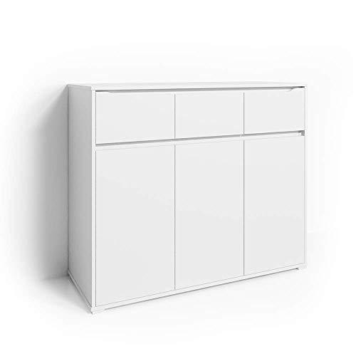 Vicco Kommode Set Ruben Schubladen Sideboard Mehrzweckschrank Schrank (120er, Weiß)