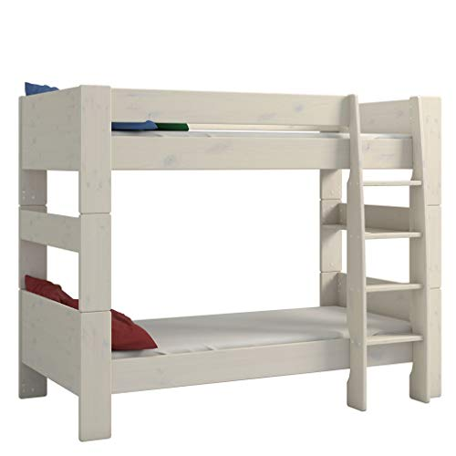 Steens For Kids Kinderbett, Etagenbett inkl. Lattenrost und Absturzsicherung, Liegefläche 90 x 200 cm, Kiefer massiv, weiß
