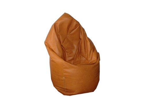 Natalia Spzoo® puff bean bag puf butaca polipiel para adultos y adolescentes (Amarillo oscuro)