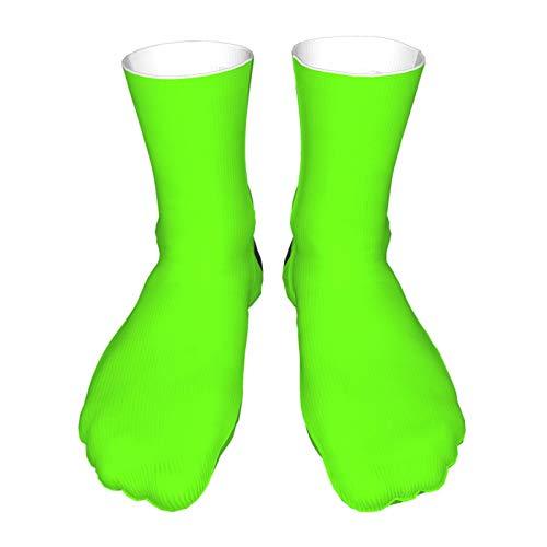 Socken für Erwachsene, Baumwolle, lange Strümpfe, schwarze Ferse, dicke Socken, warme Socken, Unisex, 40 cm, Neongrün