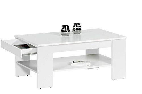 Finley Plus Couchtisch in Weiß - geräumiger Sofatisch mit Schublade & Ablage für Ihren Wohnbereich - 100 x 44 x 58 cm (B/H/T)