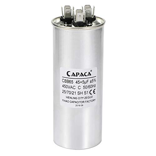 45 + 5 MFD uF CBB65 Round Aluminum Electrolyte Dual Capacitor Air Conditioner Capacitor Heat Pump Capacitor Motor Run Capacitor Withstand 450V AC for Fast Repairing