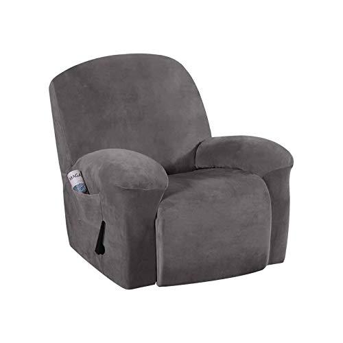 HUANXA Samt Elastische Sesselschoner Relaxsessel Bezüge, Weich Liege Abdeckung Ruhesessel Bezüge Sesselbezug Möbelschutz-grau-Einzelset