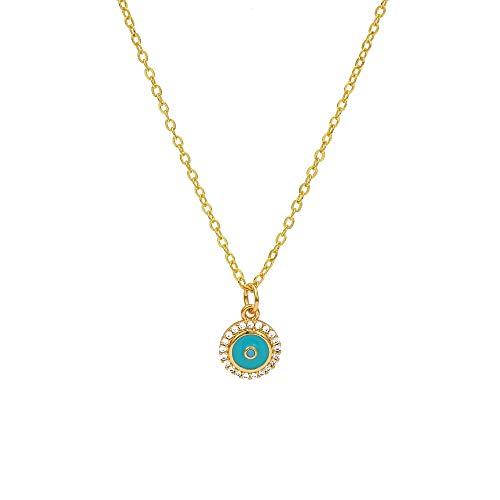 Revilium Fatima Hamza Hand Turkish Evil Eye Pendant Necklace Gold Long Necklace for Women's Jewelry