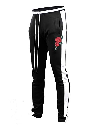 SCREENSHOTBRAND-P11853 Mens Hip Hop Premium Slim Fit Track Pants - Athletic Jogger Rose Embroidery Bottom with Taping-BK/WH-2XLarge