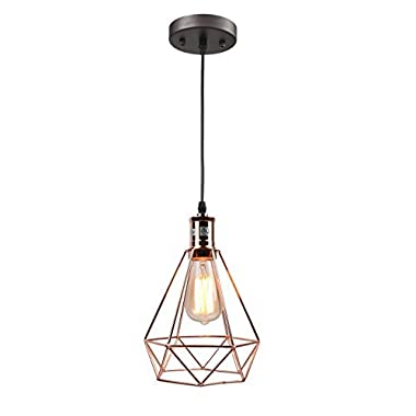 Pauwer Wire Pendant Lighting Industrial Vintage Edison Hanging Lamp Cage Shade (Rose Gold)
