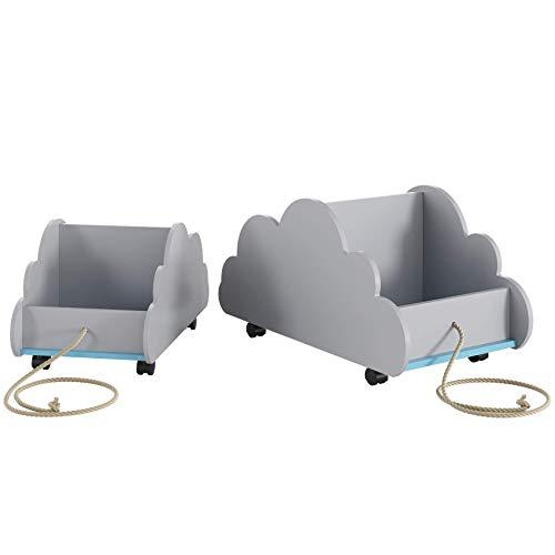 pequeño y compacto weiwei Juego de estantería para niños de 2 Caja de almacenamiento de juguetes con ruedas Estantería…