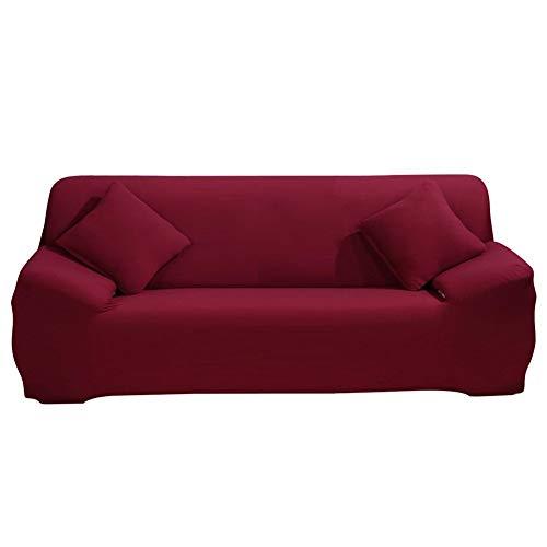 Funda elástica para sofá - Fundas para sofá Funda para sofá - 1 pieza 1 2 3 4 Plazas Protector de muebles Funda de tela de poliéster y licra con funda de almohada para niños y mascotas, color rojo
