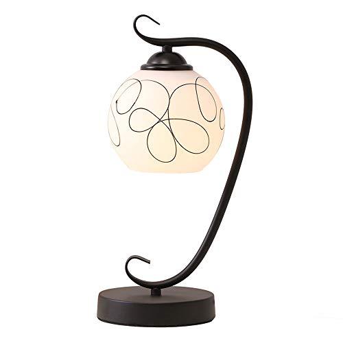 LCTCTD Kreative Nachttischlampe Milchglas Lampenschirm Schreibtisch LED Lampe für Schlafzimmer Wohnzimmer Schlafsaal Couchtisch - Schwarz