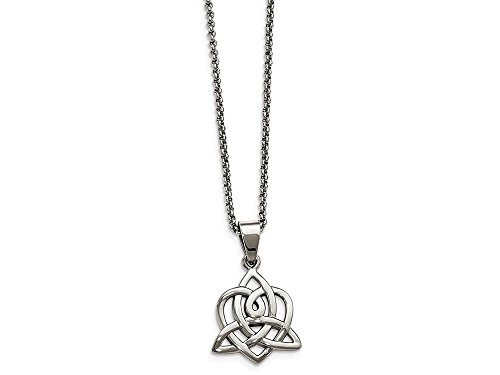 Chisel Stainless Steel Polished Heart with Trinity Knot Necklace