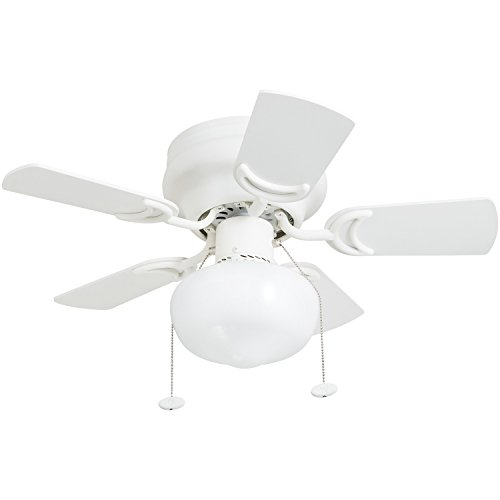 Prominence Home 41530-01 Hero 28' Hugger Small Ceiling Fan, LED Schoolhouse Globe, Glossy White