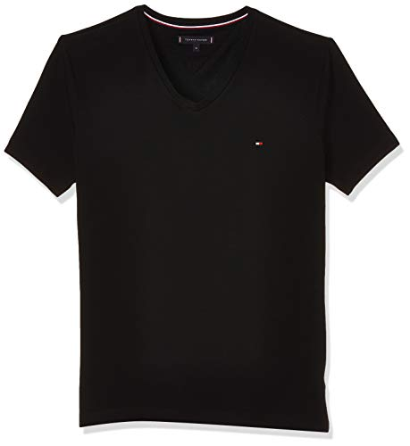 Tommy Hilfiger Core Stretch Slim Vneck tee Camiseta, Negro (Flag Black 083), Medium para Hombre