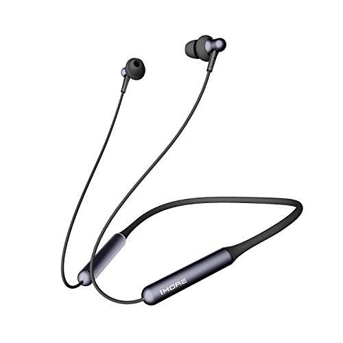 1MORE Stylish Bluetooth Headphone Wireless Bluetooth 4.2 Earphone with Microphone, Dual Dynamic Driver In-Ear Wireless Earphones Neckband, Volume Control, Fast Charge, 6H Battery Life, E1024BT Black