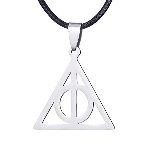 Collar De Harry Potter De Acero Inoxidable Luna Reliquias De La Muerte Triángulo Colgante Collar Cadena De Suéter Moda Simple Hombres Y Mujeres Salvajes Colgantes