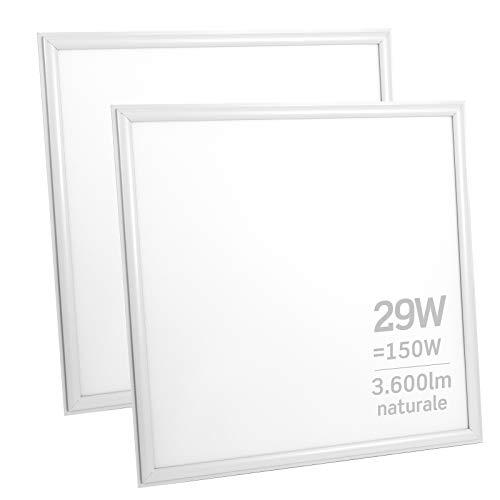 2x Pannelli LED 29W 60x60cm Alta Efficienza 3600 lumen - Luce Bianco Naturale 4000K - Fascio Luminoso 120°