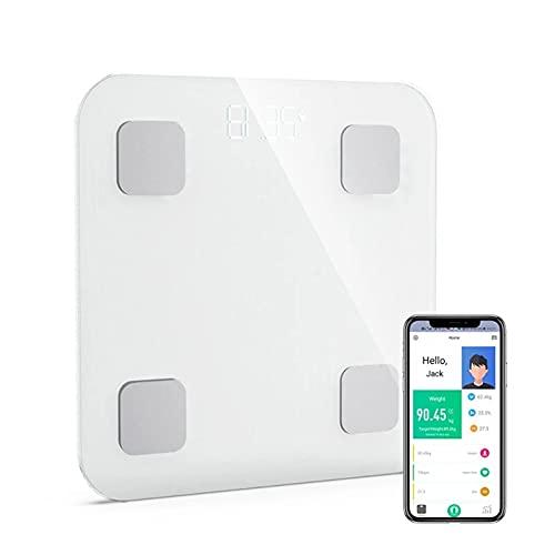 Goodvk Básculas de Grasa Corporal Inteligentes Escala De Grasa Corporal Inteligente Bluetooth 4.0 BMI Escala De Análisis Inteligente De Frecuencia Cardíaca App Monitor De Control Fácil de Configurar