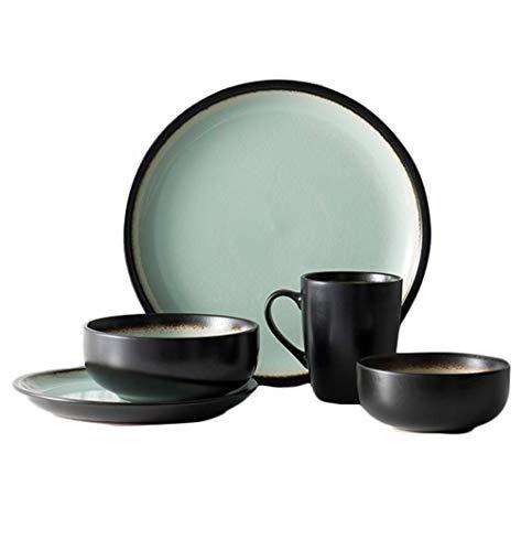 HUAHUA Bowls Tazón Vintage conjuntos de vajillas de cerámica, cuencos pintados a mano creativo japonés/Plato Placa de ensalada Familia Ramen sopa tazón de frutas