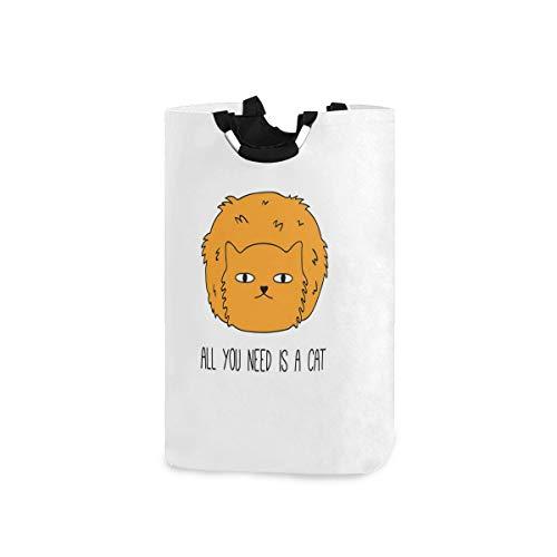 YCHY Wäschekorb,Alles, was Sie brauchen, ist Cat Saying Meow Lovers Furry Impression Sketchy Inschrift,faltbar,tragbar,platzsparend,Aufbewahrungstasche,schmutzige Kleidung für Badezimmer,Kinderzimmer