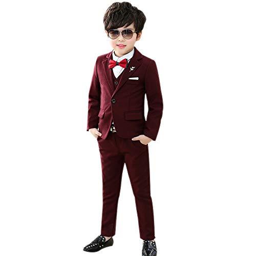 DAZISEN Jungen Anzug Slim Fit - Kinderanzug Jungen Anzug mit Weste Gentleman Hochzeit Taufe Festlich Outfit,Rot-Verdicken 3St Set,EU 130=Tag 140