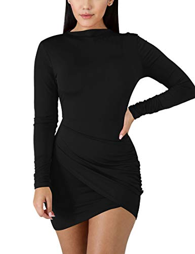 BORIFLORS Women's Sexy Wrap Front Long Sleeve Ruched Bodycon Mini Club Dress