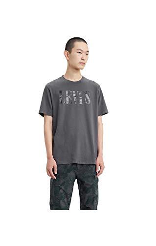 Levi's Relaxed Graphic tee Camiseta, Gris (90's Serif Logo Forged Iron 0045), Medium para Hombre