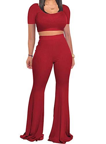 CORAFRITZ Chándal ajustado para mujer, de dos piezas, informal, de manga corta, cintura alta, acampanada, pantalones de pierna ancha