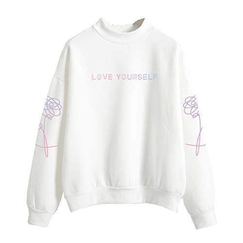SERAPHY SERAPHY WOOKIT Unisex Kapuzenpullover Love Yourself Rollkragen Sweatshirts für Armee Suga Jimin Jin Jung Jook J-Hope Rap-Monster V Weiß-P XS
