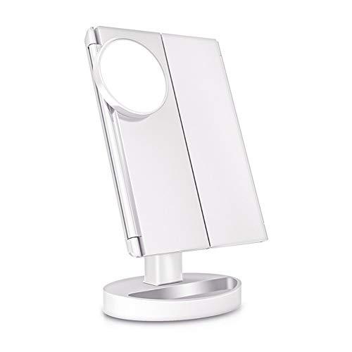 KK Zachary Espejo de maquillaje blanco con 22 luces LED, pantalla táctil, espejo de lujo 1X/2X/3X/10X, mesa ajustable de 180 grados