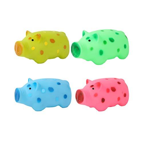 VILLCASE 4pcs Masticar Juguetes de Cerdo Diseño de Sonido Suave Juguete Perro Squeaky Juguetes de Plástico Suministros para Mascotas (Cerdo Espotado) - Perro Reducir Juguete aburrido