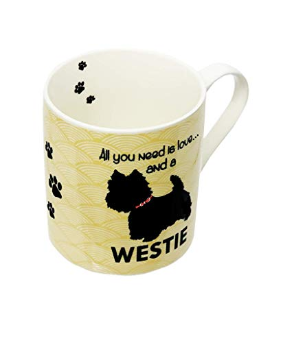 Dog Mug Westie Ceramic Tea Coffee Hot Chocolate West Highland Terrier All You Need is Love & Dog Cream & Black with Pawprints…