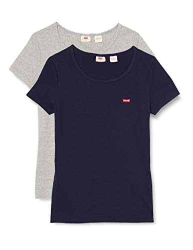 Levi's Damen T-Shirt, 2 Pack Tee Smokestack & Sea Capitan Blue, L