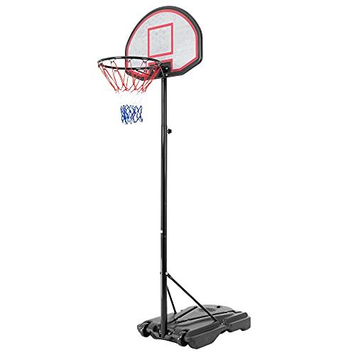 ECD Germany Canestro Basket da Esterno Regolabile in Altezza 262 cm in PE Supporto per Pallacanestro Giardino per Bambini e Adulti Canestro da Basket Mobile Portatile con Ruote e Base per Acqua/Sabbia