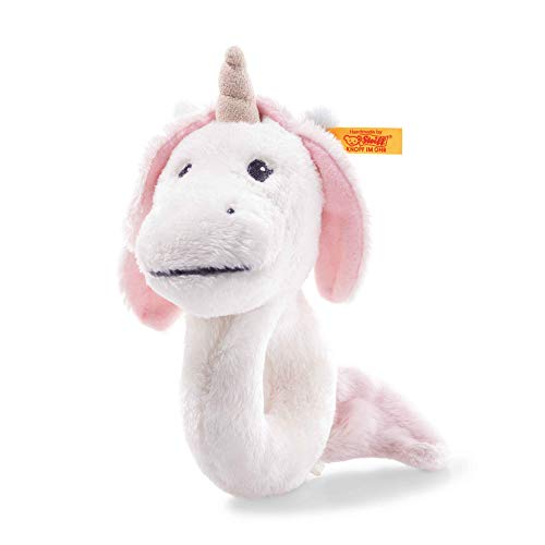 Steiff 241819 Soft Cuddly Friends Unica Babe Unicorn Grab Ring with Rattle 14 cm White