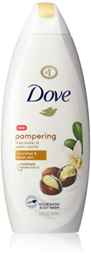 Dove Purely Pampering Body Wash for Dry Skin Shea Butter with Warm Vanilla Effectively Washes Away Bacteria While Nourishing Your Skin 22oz 4 Count