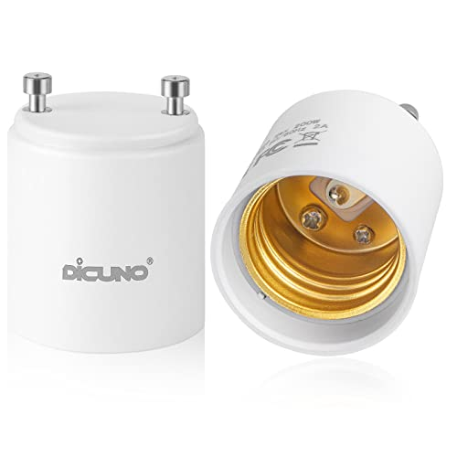 DiCUNO GU24 to E26 Adapter, GU24 LED Light Bulb Pin Base to E26...