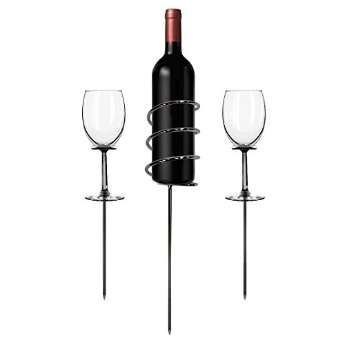 Sorbus Wine Stakes Set, Wine Sticks Holds Bottle and 2 Glasses Preventing Them from Spilling or Breaking