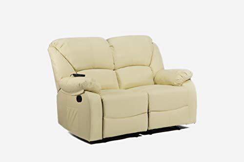 ECODE Sofa Canapé Dos Plazas Reclinable con Masaje por Ondulación Vibrante, Calor Lumbar, Polipiel ECO-8590/2 Beige