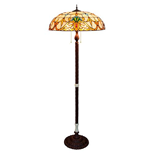 LOGGO Lámpara de Suelo Tiffany 6 0cm Super Grande Europeo Retro Grande Sala de Estar Comedor lampara Barra Americana Tiffany Manchado Jade lámpara Hierro Base de pie lámpara de pie