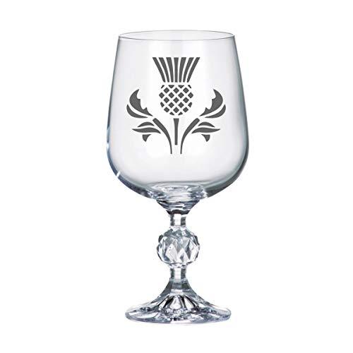 11oz 'Bohemia Crystal' Wine Glass With Scottish Thistle Design