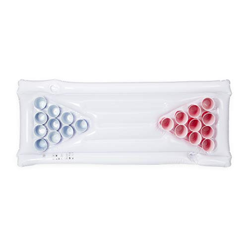 Relaxdays, weiß Luftmatratze, aufblasbarer Beer Pong Tisch, Pool & Strand, Trinkspiel für Erwachsene, 163x60cm