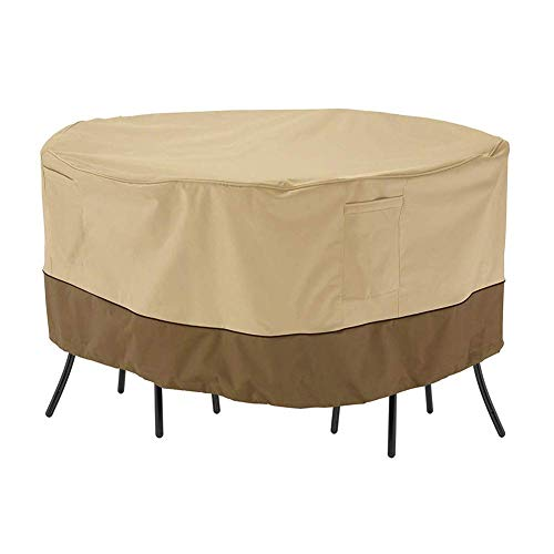 Round Patio Dining Table Cover, Waterproof And Dustproof 600D Oxford Cloth Outdoor Home Garden Furniture Cover 72 * 72 * 24 Inch
