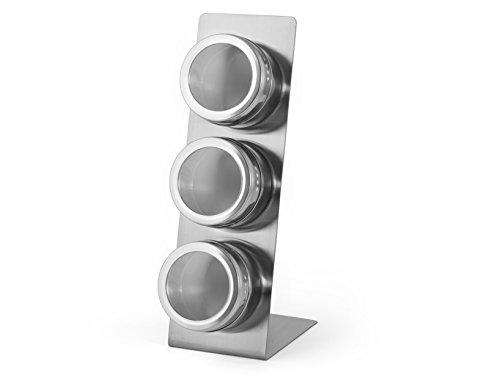 inoxpran Gewürzregal Set 3Vorratsdosen mit Stand Magnetisch, Edelstahl, 8x 15x 24cm