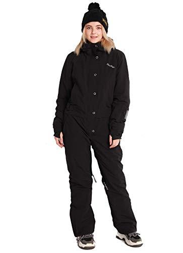 Bluemagic Womens One Pieces Snowsuit Ski Suits Colorful Jumpsuits Coveralls for Snowboard Sports ( Black ,M )