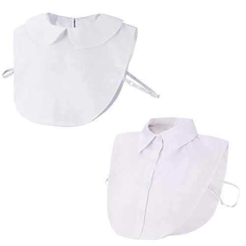 2 Stücke Frauen Abnehmbare Damen Blusenkragen, Hälfte Shirt Bluse In Baumwolle Vintage Elegante (Weiß 3)