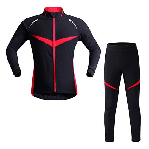 Completo Maglia Ciclismo da Uomo Maglia da MTB Traspirante a Maniche Lunghe Traspirante e Pantaloni con Bretelle Imbottiti in 9D Gel (Red,3XL)