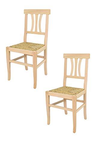 Tommychairs - Set 2 sedie modello Artemisia per cucina bar e sala da pranzo, robusta struttura in legno di faggio levigato, non trattato, 100% naturale e seduta in paglia
