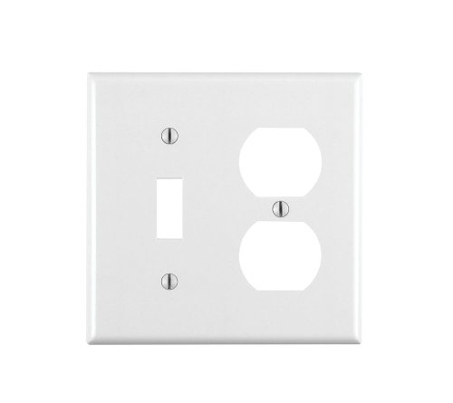 Leviton 88005 001-000 1-Toggle 1-Duplex Standard Size Wall Plate, 2 Gang, 4.5 in L X 4.56 in W 0.22 in T, Standard, White