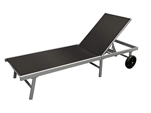 DEGAMO Rollenliege Ostia 200cm, Aluminium Silbergrau + Kunstgewebe schwarz wetterfest, Rückenteil 5-Fach verstellbar