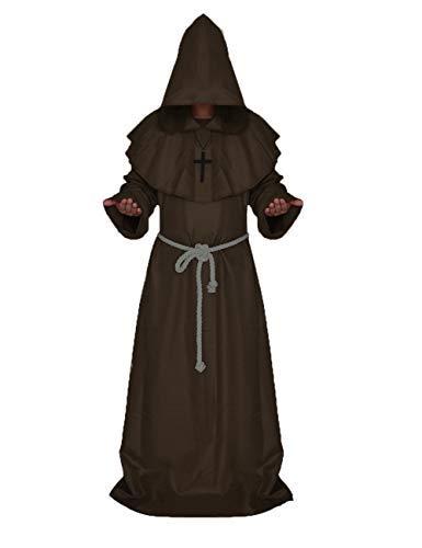 chuangminghangqi Mönch Robe Prister Gewand Mittelalter - Kostüm Renaissance Priester Robe Halloween Cosplay (XXL, Kaffee)
